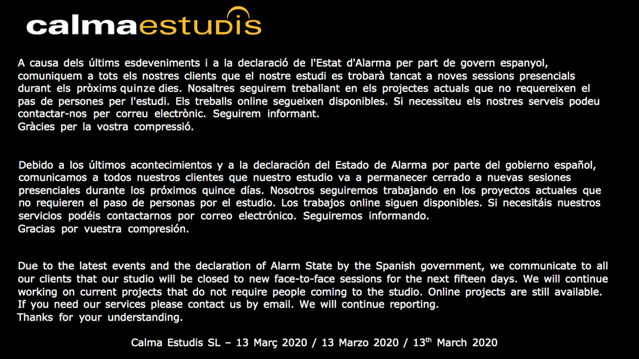 Calma Estudis - Recording Studio - Mallorca